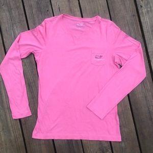 Vineyard Vines Long Sleeve Tee Shirt Coral M